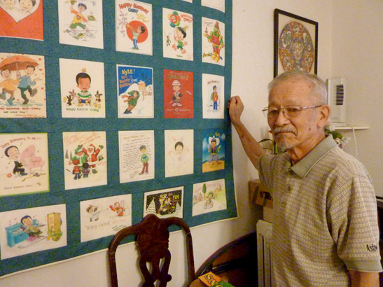 With some of his illustrations.