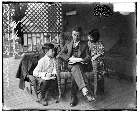 Man Sitting with Children
